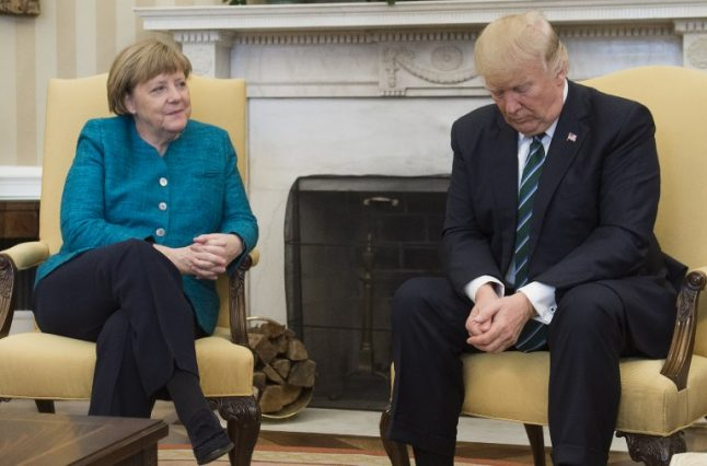 Tensions show as Trump and Merkel meet for first time
