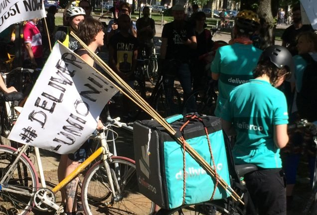 Foodora and Deliveroo couriers protest working conditions in Berlin