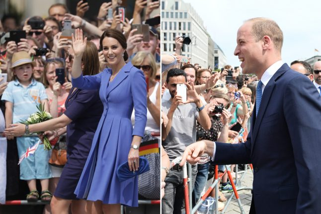 Thousands swarm to greet Prince William and Kate in Berlin