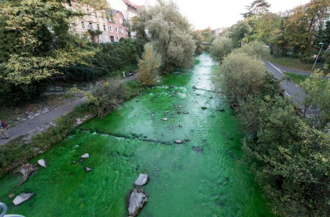 Freiburg police give all clear after river turns bright green