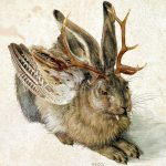 """A Wolpertinger, created based on a painting of a young march hare by Albrecht Dürer (1502). Believe it or not, this is one of the more sensible, traditional depictions of a Wolpertinger: with the body of a hare, the horns of a deer, the wings of a duck and fangs. It only gets weirder from here.Photo: <a href=""""https://de.wikipedia.org/wiki/Wolpertinger"""">Wikipedia</a>"""
