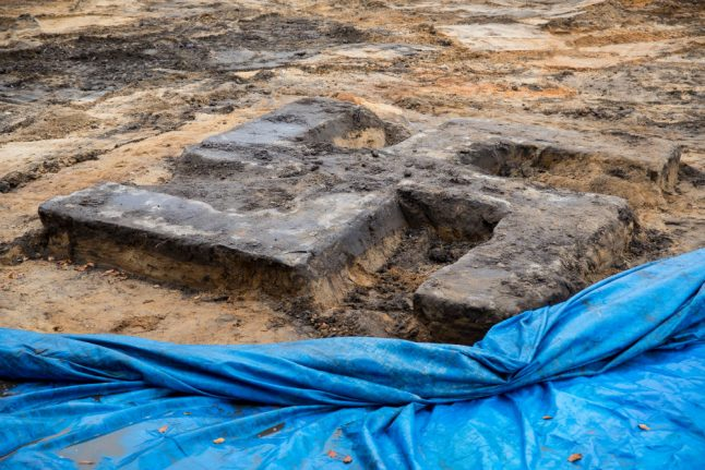 Giant swastika made of concrete excavated on Hamburg sports field