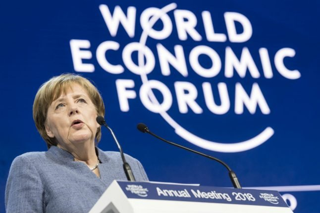 Merkel warns 'protectionism not the answer' to world problems at Davos summit