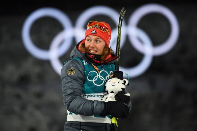 Dahlmeier's biathlon win gives Germany its first gold at Winter Olympics