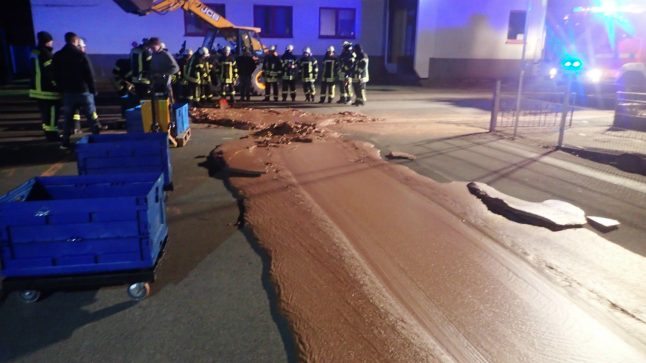 Chock-a-block! A ton of chocolate spills onto road in German city