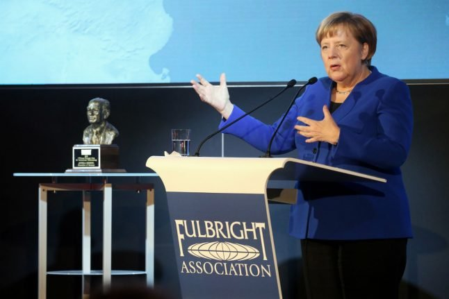 Merkel warns against nationalism in Fulbright Prize acceptance speech