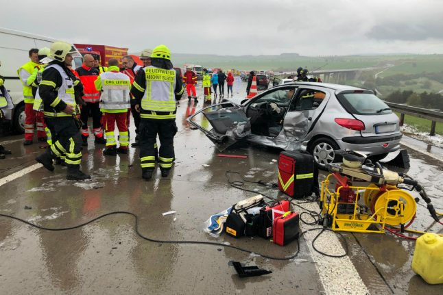 Two dead and dozens injured after crash and mass car pile-up in Thuringia