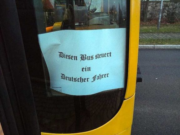'This bus is driven by a German': Outrage over anti-foreigner sign in Dresden