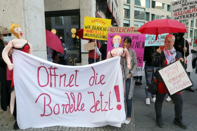 Sex workers protest in Berlin as coronavirus keeps brothels shut
