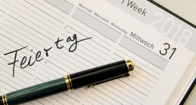 Feiertag - or 'public holiday' is written in a diary.