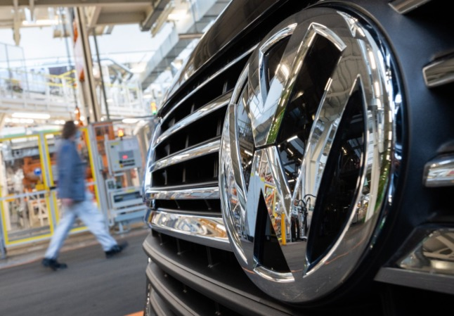 An employee walks through the Volkswagen Commercial Vehicles plant in Hanover.