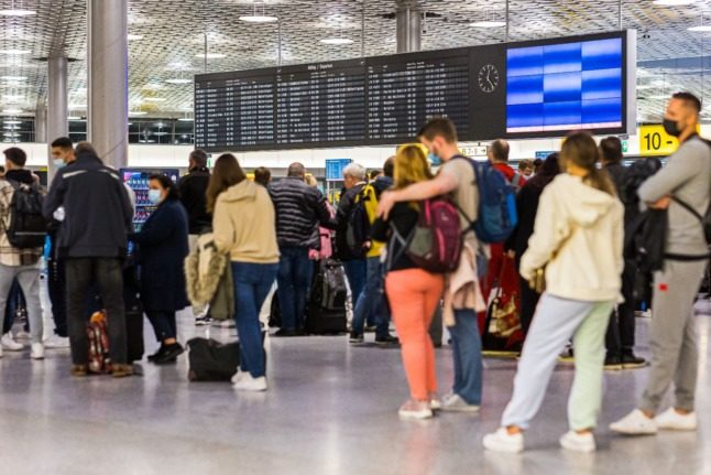 Travellers at Hanover airport on October 2nd.
