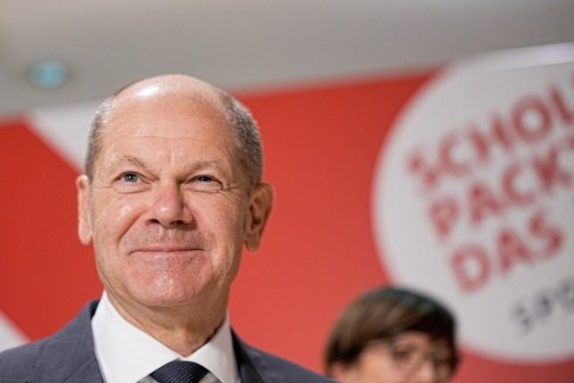 The SPD's chancellor candidate Olaf Scholz speaks to reporters in Berlin on Wednesday.
