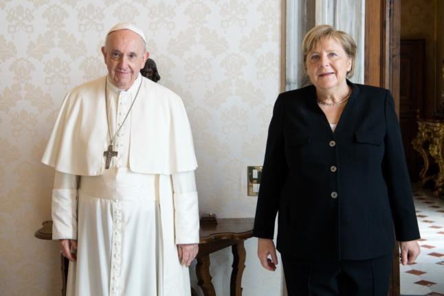 Angela Merkel meets Pope Francis on Thursday in the Vatican.