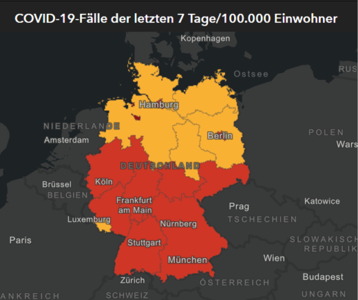 Map showing Covid cases by state in Germany
